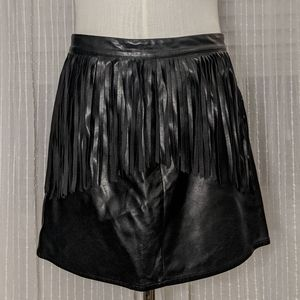 H&M Black Faux Leather Fringe Mini Skirt